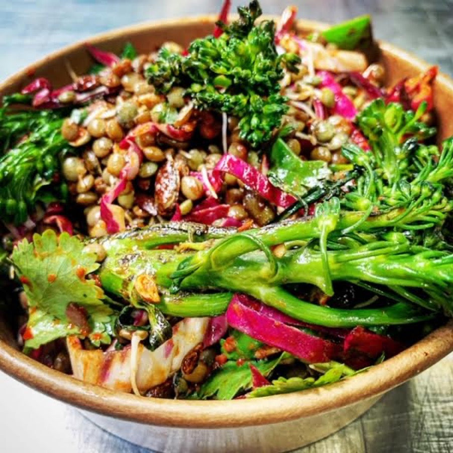 Tender Stem Broccoli, Lentils, Coriander, Chilli, Soy Toasted Seeds & Radicchio