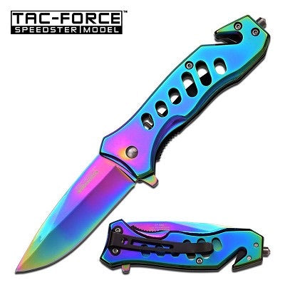 Rainbow Rebel Tac Force Spring Assisted Knife 3.75 Inch Closed Titanium