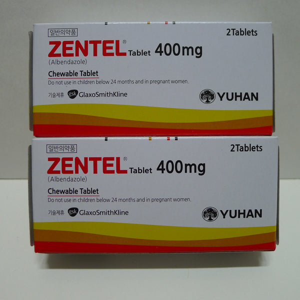 Zentel 4 Tablet   Anthelmintic albendazole 400mg Adults Children 2 Boxes Dewormer Kill Common Worms Parasites