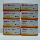 Zentel 16 Tablet  Anthelmintic albendazole 400mg  8 Boxes Dewormer Kill Parasites