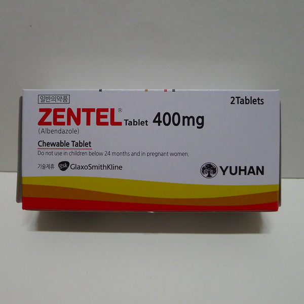 Zentel 2 Tablet Anthelmintic albendazole 400mg Adults Children 1 Boxes Dewormer Kill Common Worms Parasites