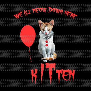 Kitten We All Meow Down Here,Kitten We All Meow Down Here PNG , Hocus Pocus,Friends Horror Movie Creepy Halloween Png,Horror friend