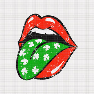 Red Lips Tongue Out St Patricks Day Shamrock 4 Leaf Trendy, Red Lips Tongue Out St Patricks Day Shamrock 4 Leaf Trendy svg,  Lips patricks day png, patrick day svg, patrick day