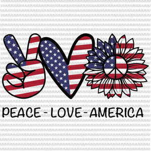 Peace Love America svg, peace sign svg, peace love svg, 4th of July Svg, Patriotic SVG, Cricut Silhouette Cut Files svg dxf