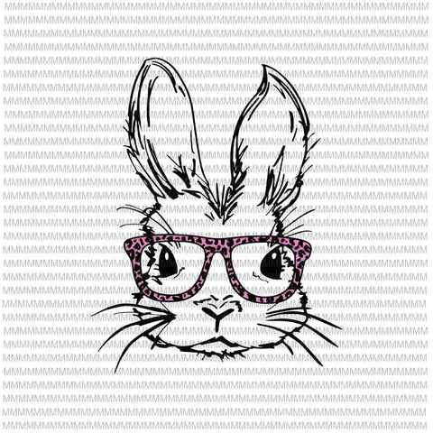 Cute Bunny Face Svg, Leopard Pink Glasses Svg, Bunny Easter day svg, Easter day svg, EASTER Women Boy svg for Cricut Silhouette
