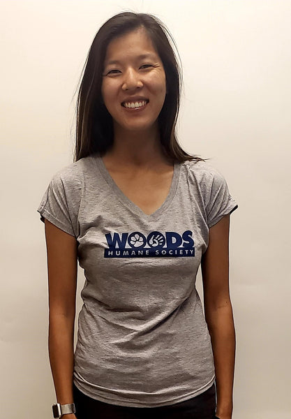 T-Shirt V-Neck Ladies Supersoft with Woods Logo