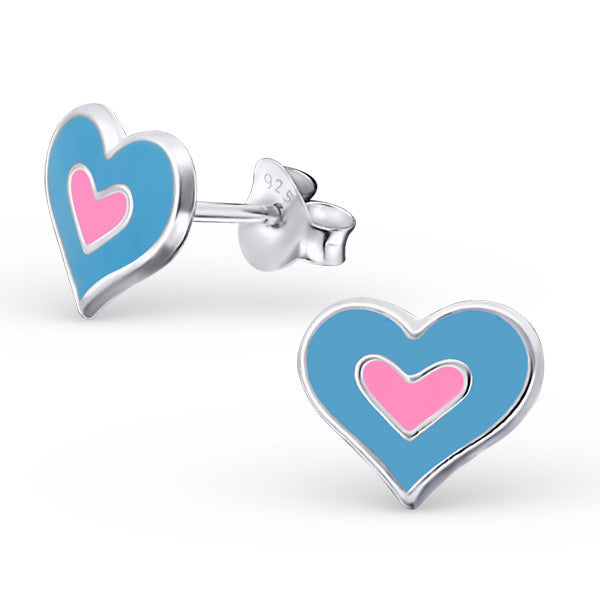 Blue and Pink Double Heart Earrings - Mya Grace - Snap Jewelry