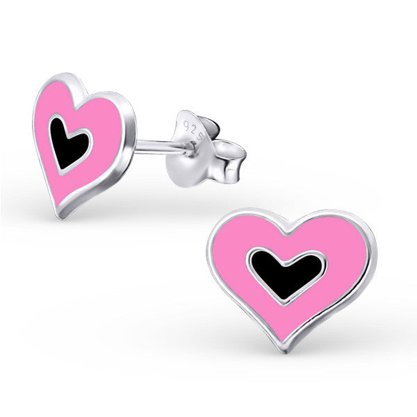Pink and Black Double Heart Earrings - Mya Grace - Snap Jewelry
