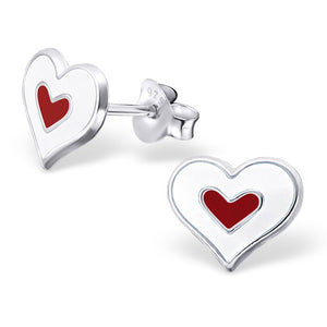 White and Red Double Heart Earrings - Mya Grace - Snap Jewelry