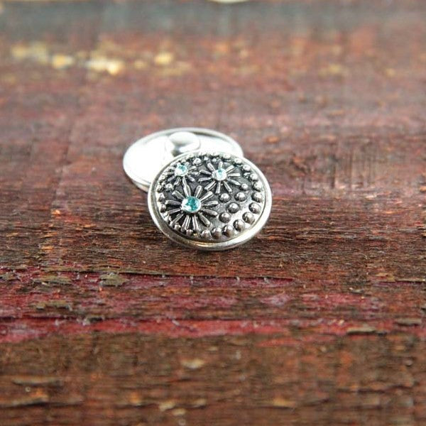 Silver Daisies with blue rhinestone centers
