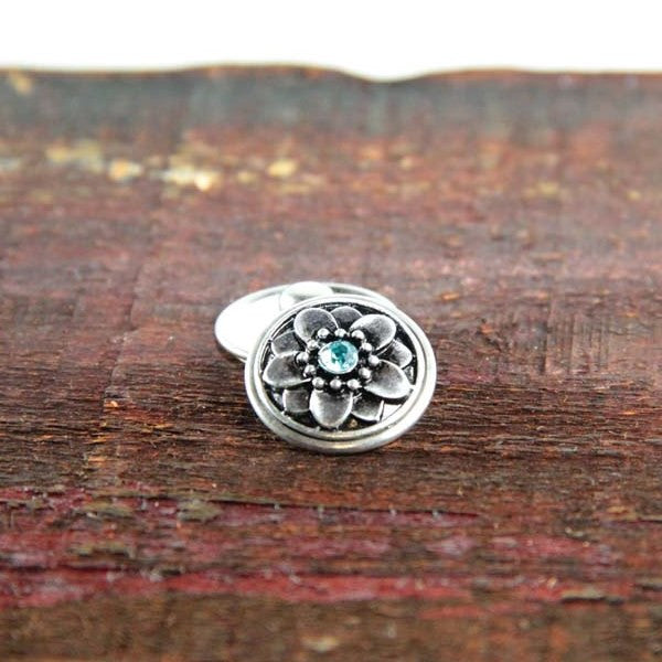 Silver Flower with Blue Center Stone
