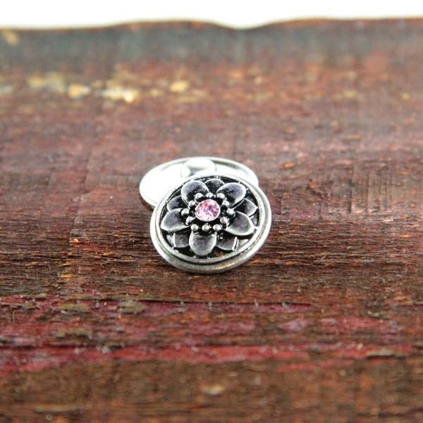 Silver Flower with Pink Center Stone