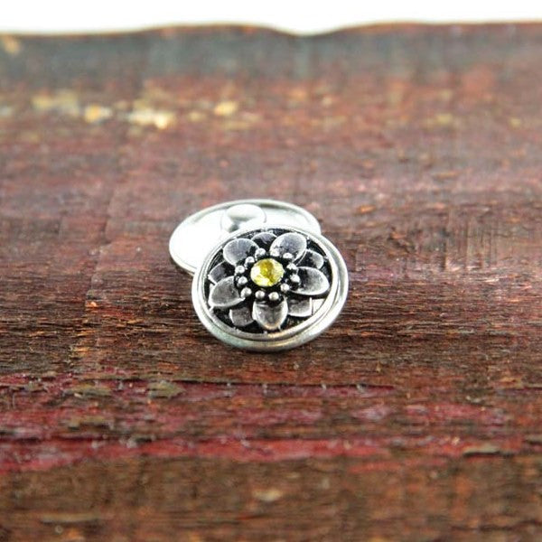 Silver Flower with Yellow Center Stone