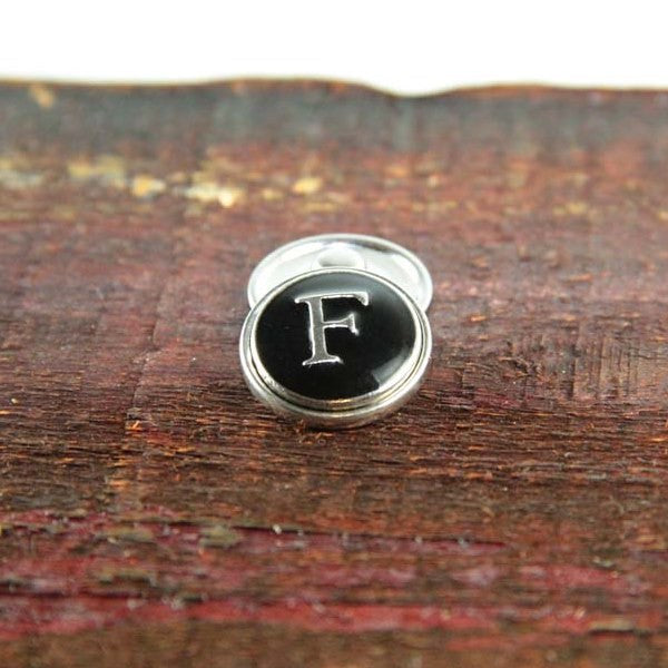 Letter F in Black & Silver - Mya Grace - Snap Jewelry