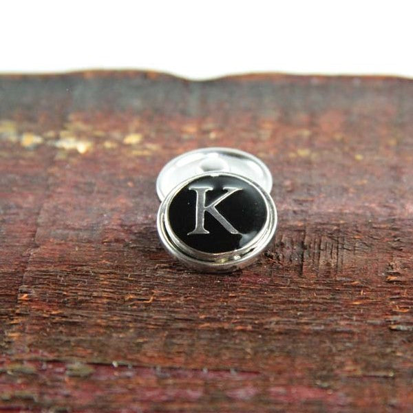 Letter K in Black & Silver - Mya Grace - Snap Jewelry