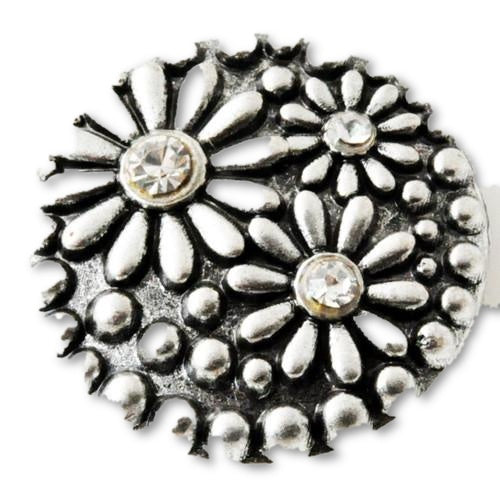 Silver Daisies with crystal rhinestone centers - Mya Grace Jewelry