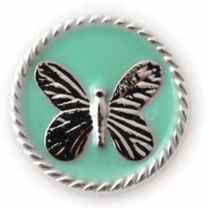 Silver Butterfly on Teal Enamel Background - Mya Grace - Snap Jewelry