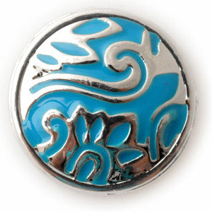 The Silver Wave on a Blue Enamel Background - Mya Grace - Snap Jewelry