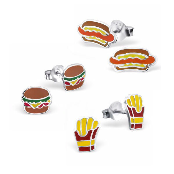 Burger Fries and Hot Dog Earring Set - Mya Grace - Snap Jewelry