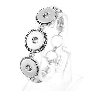 Silver Bracelet with Three Snaps - Mya Grace - Snap Jewelry
