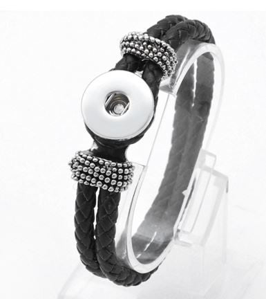 Braided Leather Bracelet in Black - Mya Grace - Snap Jewelry