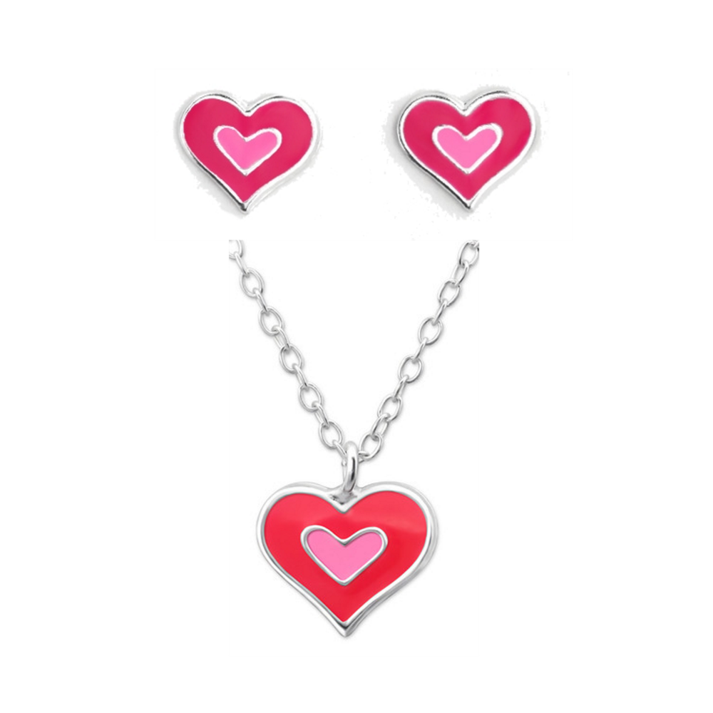 Double Heart Necklace & Earring Set - Mya Grace - Snap Jewelry