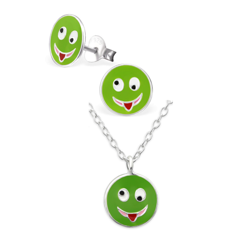 Green Silly Face Emoji Necklace & Earring Set - Mya Grace - Snap Jewelry