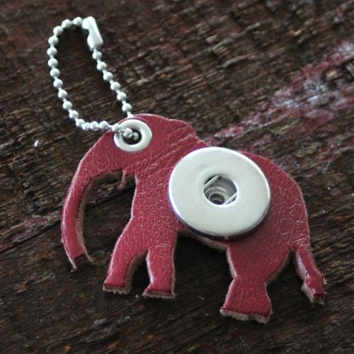 Single Snap Elephant Keychain in Red