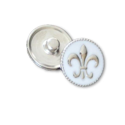Silver Fleur de Lis on a White Enamel Background - Mya Grace Jewelry