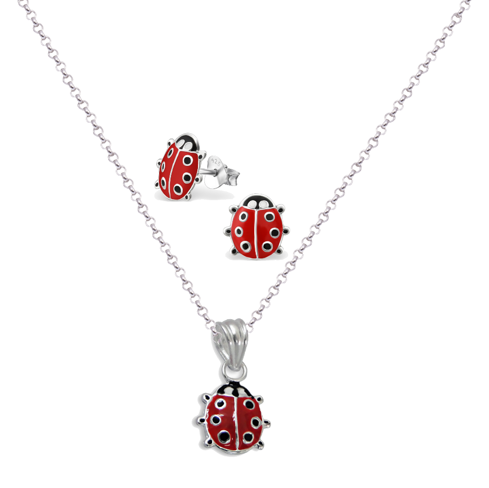 Ladybug Necklace & Earring Set - Mya Grace - Snap Jewelry