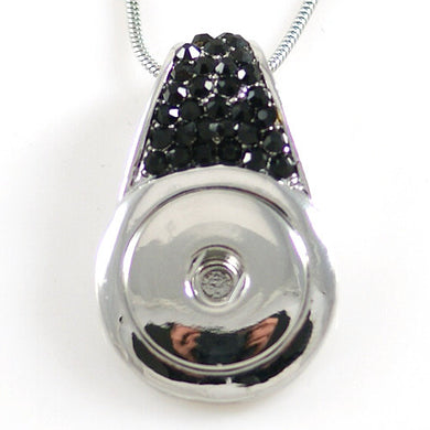 Black Rhinestone Pendant - Mya Grace - Snap Jewelry