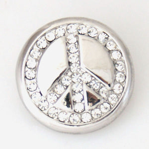 Clear Rhinestone Peace Sign - Mya Grace - Snap Jewelry