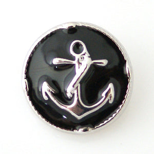 Anchor on Black Enamal Background - Mya Grace - Snap Jewelry