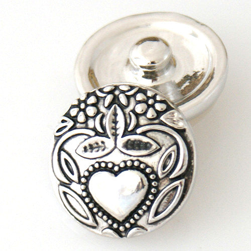 Silver Heart in the Garden - Mya Grace - Snap Jewelry