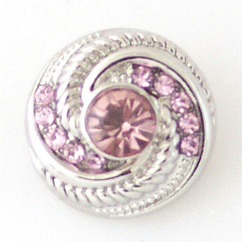 Pinwheel with Pink Rhinestones - Mya Grace - Snap Jewelry