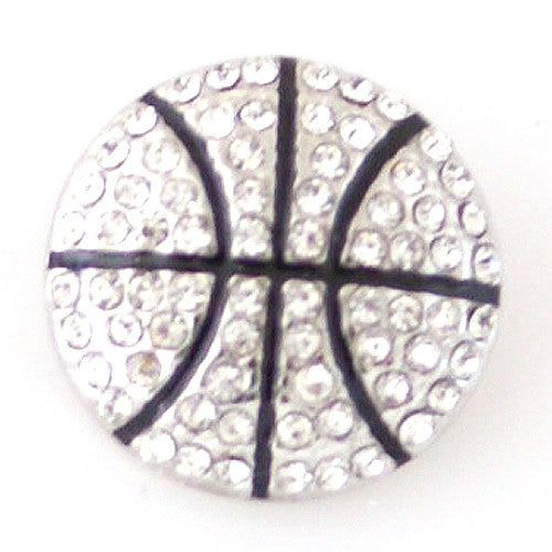 Bling Basketball with Clear Rhinestones - Mya Grace - Snap Jewelry