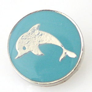 Golden Dolphin in Blue Enamel - Mya Grace - Snap Jewelry