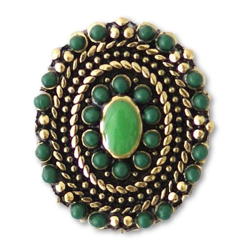 The Green Beaded Oval - Mya Grace Jewelry