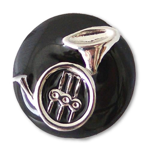 Silver French Horn on Black Enamel Background - Mya Grace Jewelry