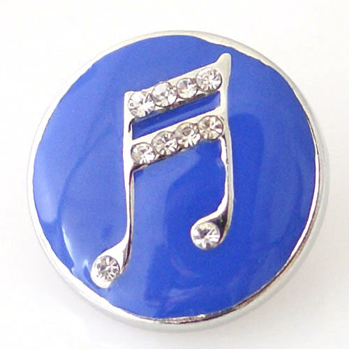 Keep the Beat on Blue Enamel Background - Mya Grace - Snap Jewelry