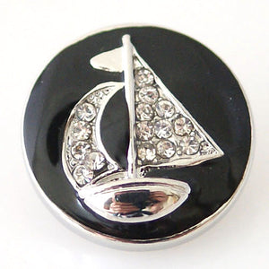 Silver Sailboat on Black Enamel Background - Mya Grace - Snap Jewelry