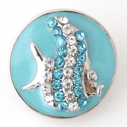 Rhinestone Angelfish on Blue Enamel - Mya Grace - Snap Jewelry