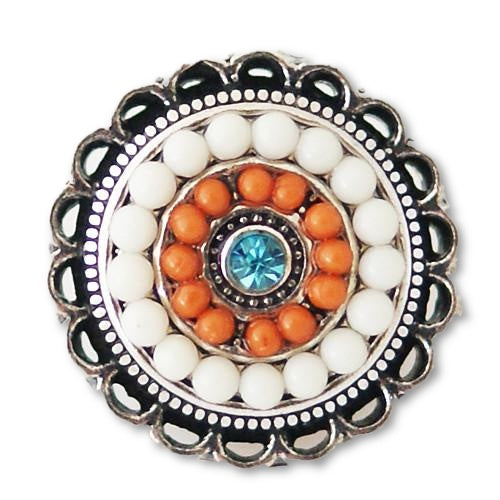 Fancy Beaded Rings in White and Orange - Mya Grace Jewelry