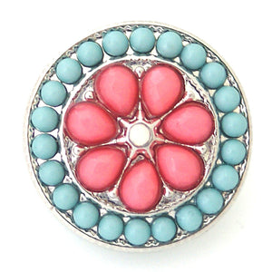 Beaded Circle in Blue & Pink - Mya Grace - Snap Jewelry