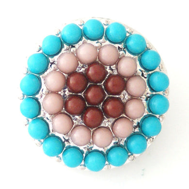 Beaded Circle in Blue & Rust - Mya Grace - Snap Jewelry