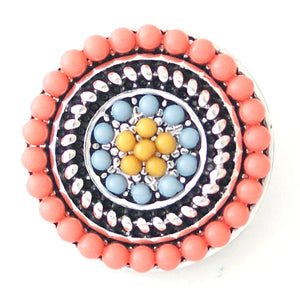 Beaded Rope Circle in Peach Blue and Yellow - Mya Grace - Snap Jewelry