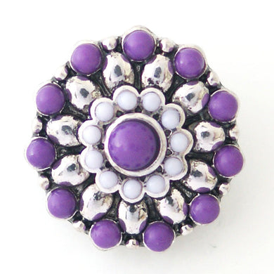Beaded Starburst in Purple and White - Mya Grace - Snap Jewelry