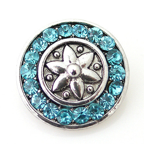 Silver Lilly with Teal Rhinestone Circle - Mya Grace - Snap Jewelry