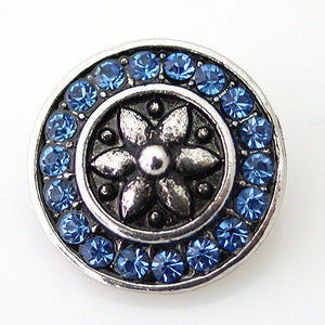 Silver Lilly with Blue Rhinestone Circle - Mya Grace - Snap Jewelry