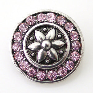 Silver Lilly with Pink Rhinestone Circle - Mya Grace - Snap Jewelry